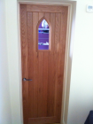 Oak door with panel left for glass