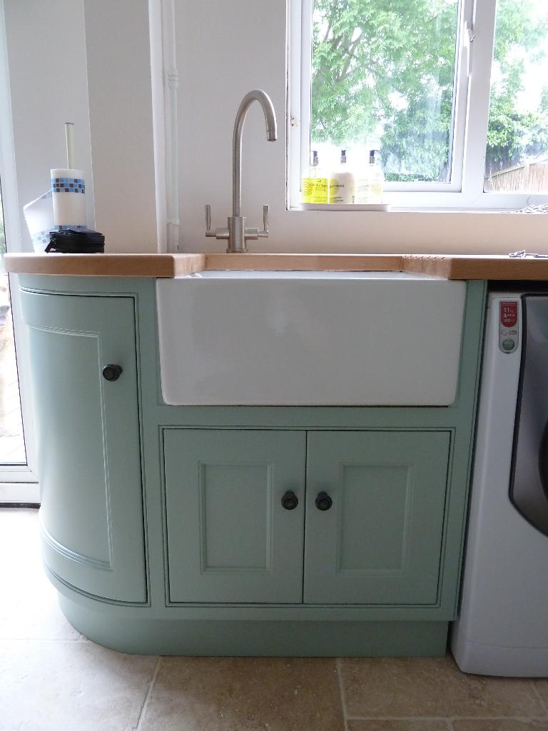 Corner Kitchen Sink Unit : Belfast sink with handmade unit to fit underneath and corner cupboard
